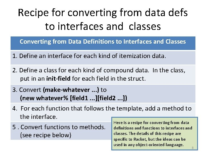 Recipe for converting from data defs to interfaces and classes Converting from Data Definitions