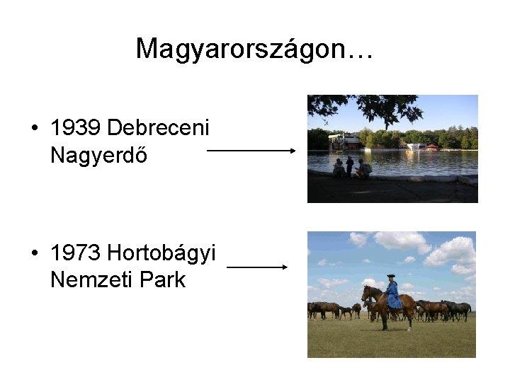 Magyarországon… • 1939 Debreceni Nagyerdő • 1973 Hortobágyi Nemzeti Park