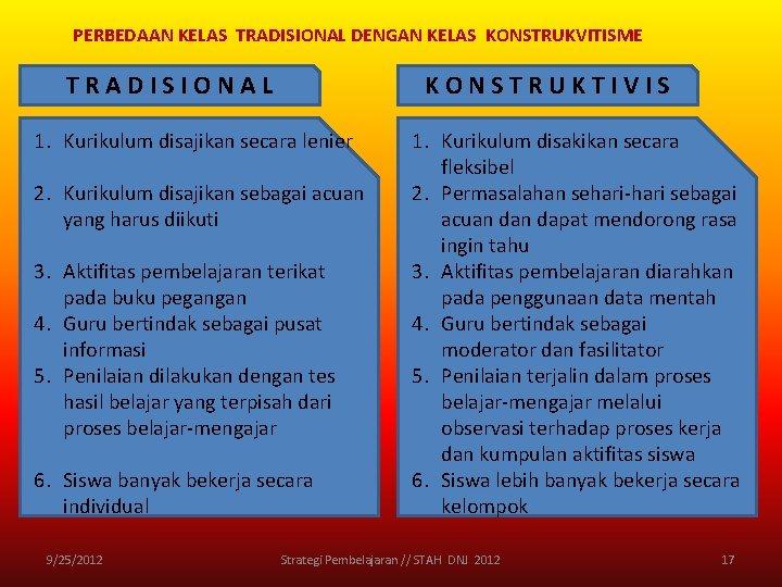 PERBEDAAN KELAS TRADISIONAL DENGAN KELAS KONSTRUKVITISME TRADISIONAL KONSTRUKTIVIS 1. Kurikulum disajikan secara lenier 2.