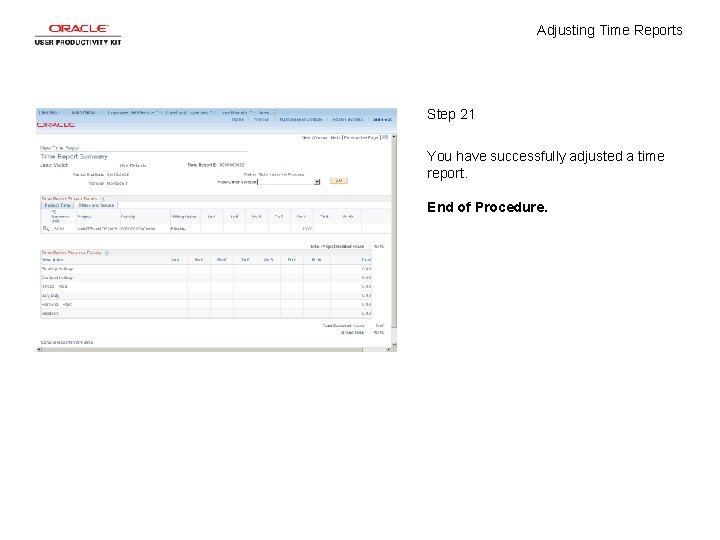 Adjusting Time Reports Step 21 You have successfully adjusted a time report. End of