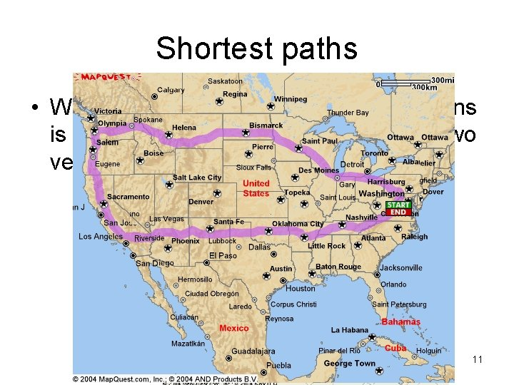 Shortest paths • What is really needed in most applications is finding the shortest