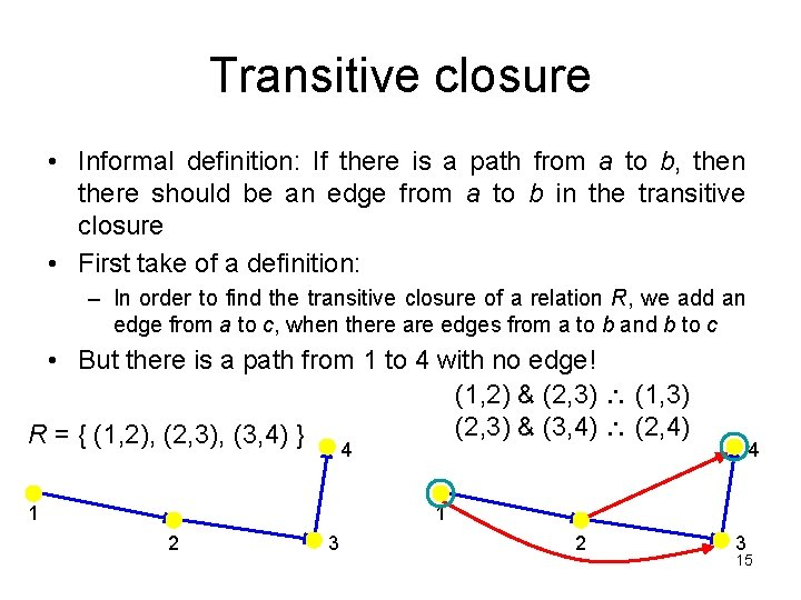 Transitive closure • Informal definition: If there is a path from a to b,