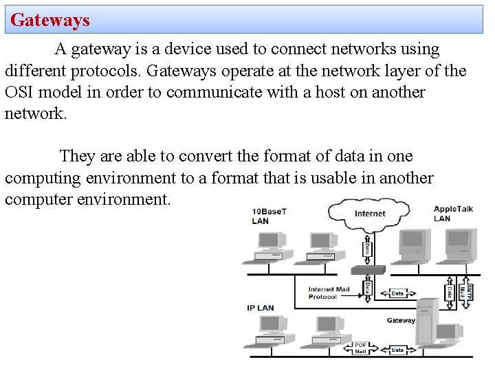 Gateways A gateway is a device used to connect networks using different protocols. Gateways