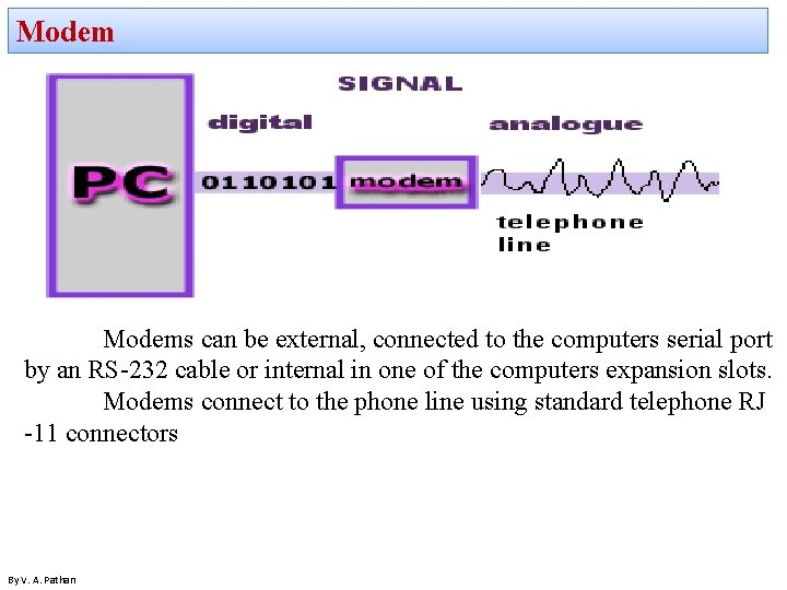 Modems can be external, connected to the computers serial port by an RS-232 cable