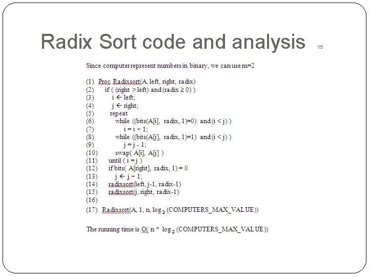 Radix Sort code and analysis 15
