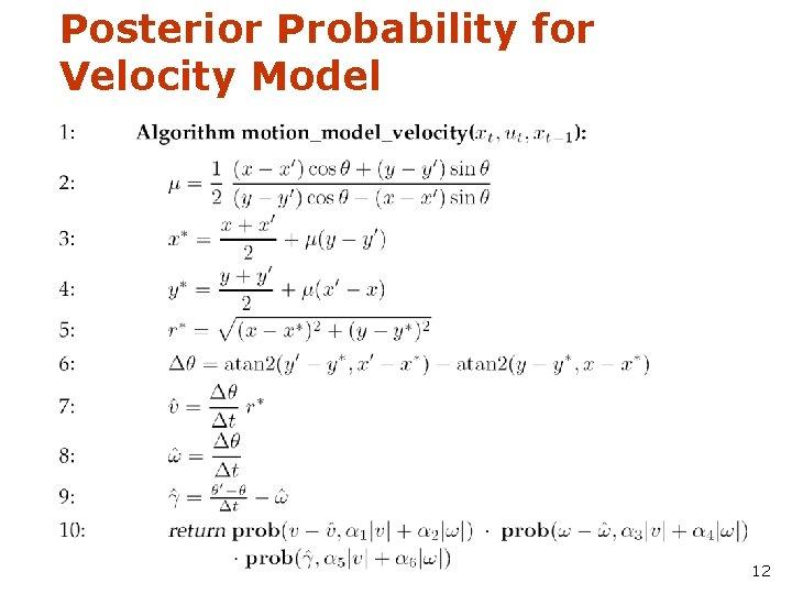Posterior Probability for Velocity Model 12