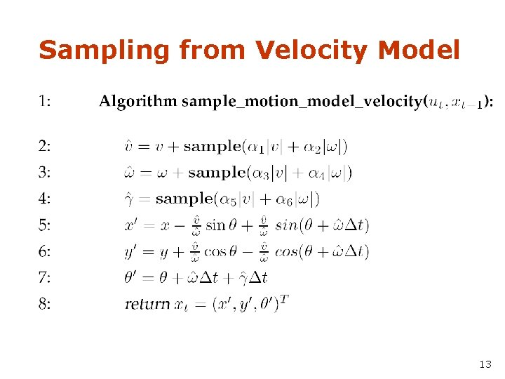 Sampling from Velocity Model 13
