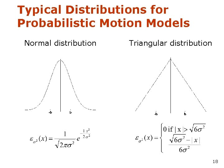 Typical Distributions for Probabilistic Motion Models Normal distribution Triangular distribution 18