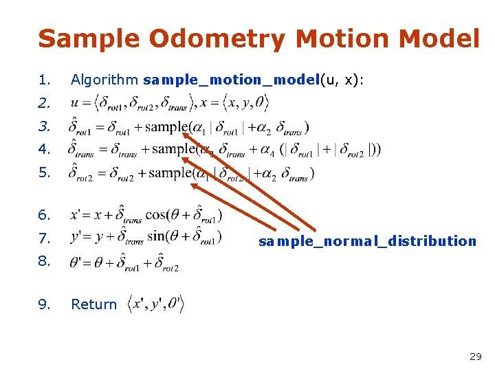 Sample Odometry Motion Model 1. Algorithm sample_motion_model(u, x): 2. 3. 4. 5. 6. 7.