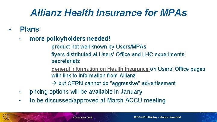 Allianz Health Insurance for MPAs • Plans • more policyholders needed! product not well
