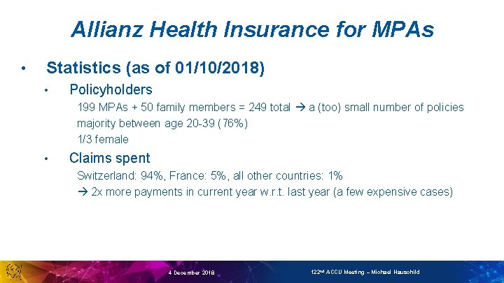 Allianz Health Insurance for MPAs • Statistics (as of 01/10/2018) • Policyholders 199 MPAs