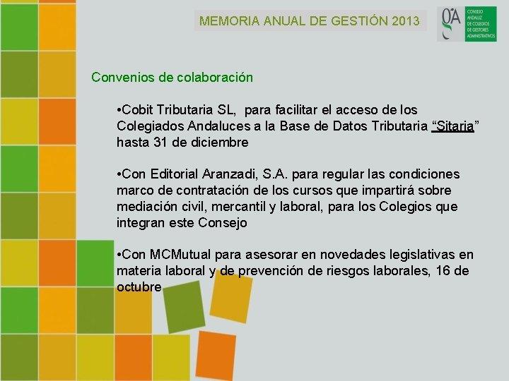 MEMORIA ANUAL DE GESTIÓN 2013 Convenios de colaboración • Cobit Tributaria SL, para facilitar