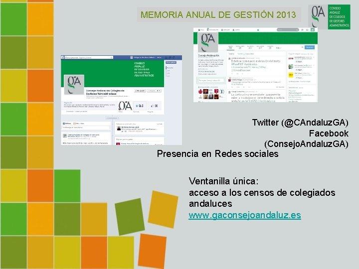 MEMORIA ANUAL DE GESTIÓN 2013 Twitter (@CAndaluz. GA) Facebook (Consejo. Andaluz. GA) Presencia en