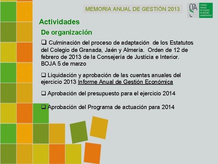 MEMORIA ANUAL DE GESTIÓN 2013 Actividades De organización q Culminación del proceso de adaptación