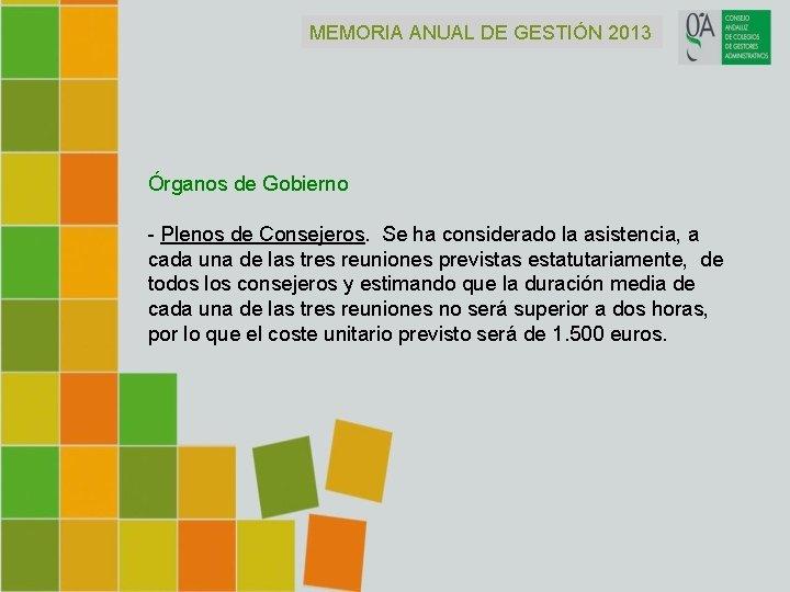 MEMORIA ANUAL DE GESTIÓN 2013 Órganos de Gobierno - Plenos de Consejeros. Se ha