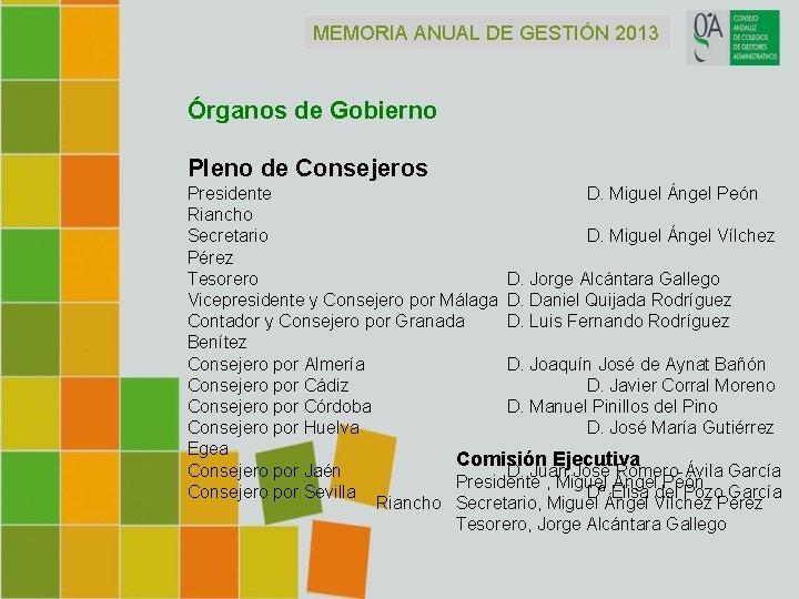 MEMORIA ANUAL DE GESTIÓN 2013 Órganos de Gobierno Pleno de Consejeros Presidente D. Miguel