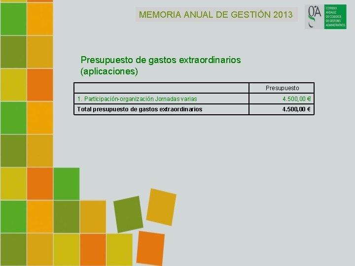 MEMORIA ANUAL DE GESTIÓN 2013 Presupuesto de gastos extraordinarios (aplicaciones) Presupuesto 1. Participación-organización Jornadas