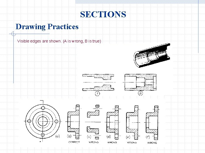 SECTIONS Drawing Practices Visible edges are shown. (A is wrong, B is true)