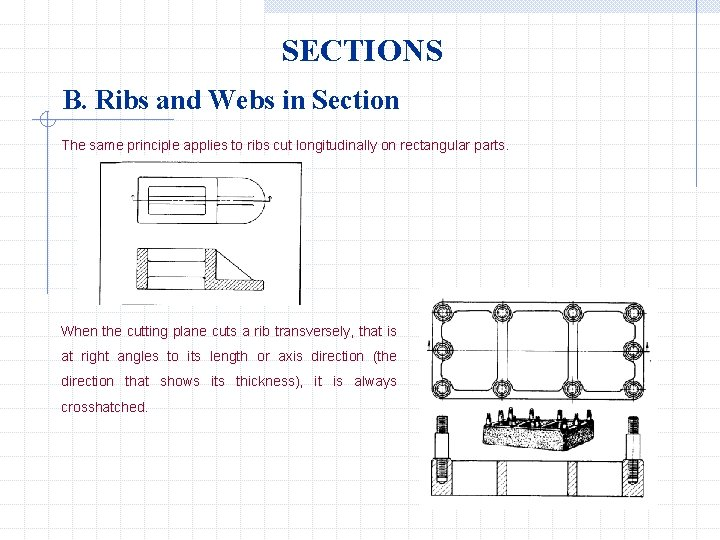 SECTIONS B. Ribs and Webs in Section The same principle applies to ribs cut