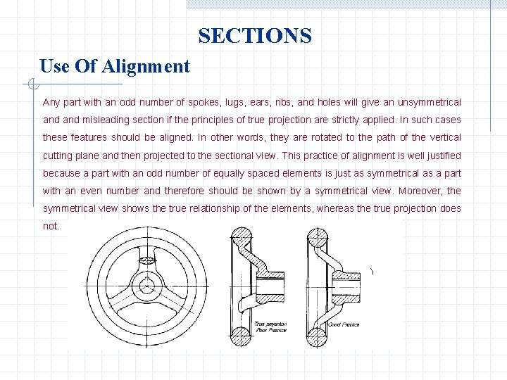 SECTIONS Use Of Alignment Any part with an odd number of spokes, lugs, ears,