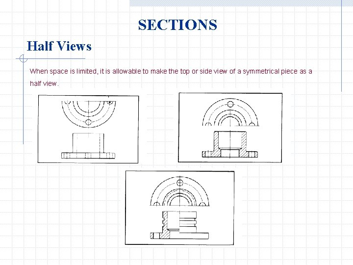 SECTIONS Half Views When space is limited, it is allowable to make the top