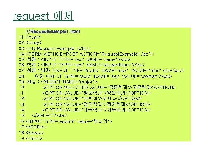 request 예제 //Request. Example 1. html 01 <html> 02 <body> 03 <h 1>Request Example