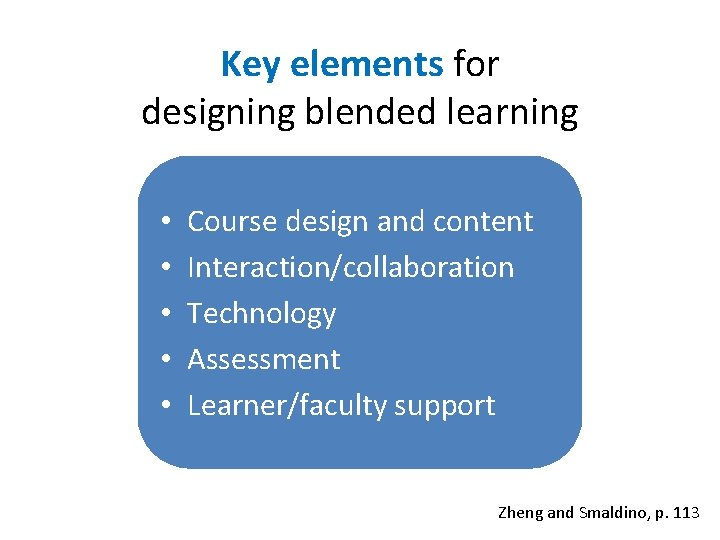 Key elements for designing blended learning • • • Course design and content Interaction/collaboration