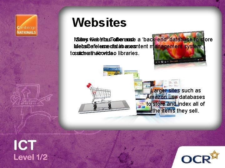 Websites Many Sites websites like You. Tube oftenand use a 'back-end' database to store
