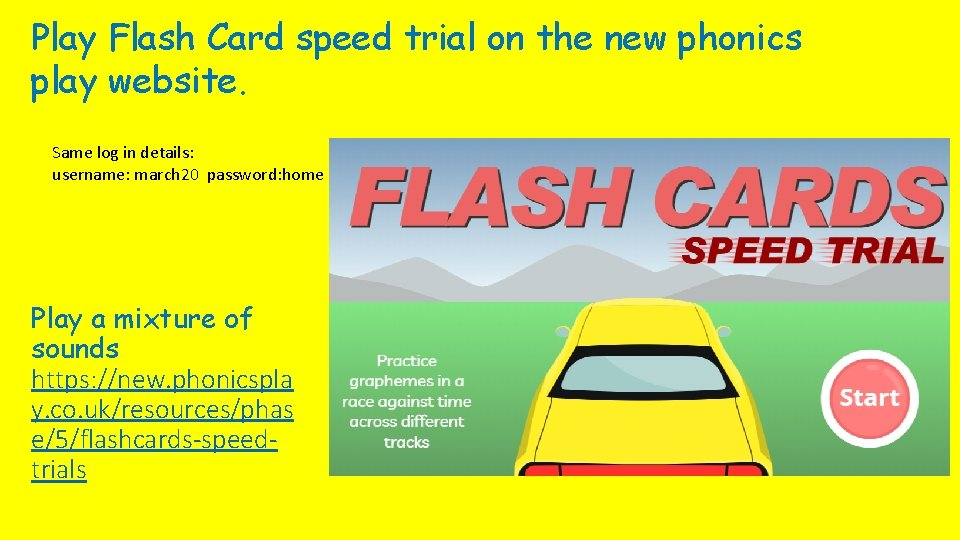 Play Flash Card speed trial on the new phonics play website. Same log in