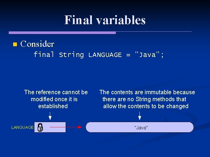 """Final variables n Consider final String LANGUAGE = """"Java""""; The reference cannot be modified"""