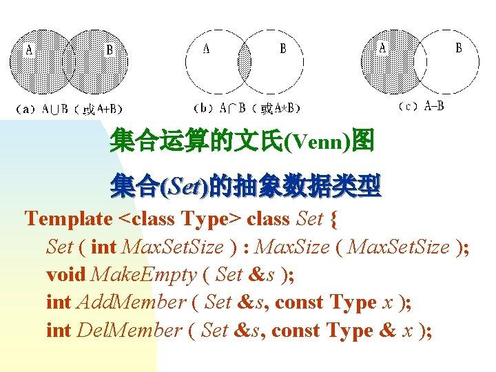 集合运算的文氏(Venn)图 集合(Set)的抽象数据类型 Template <class Type> class Set { Set ( int Max. Set. Size