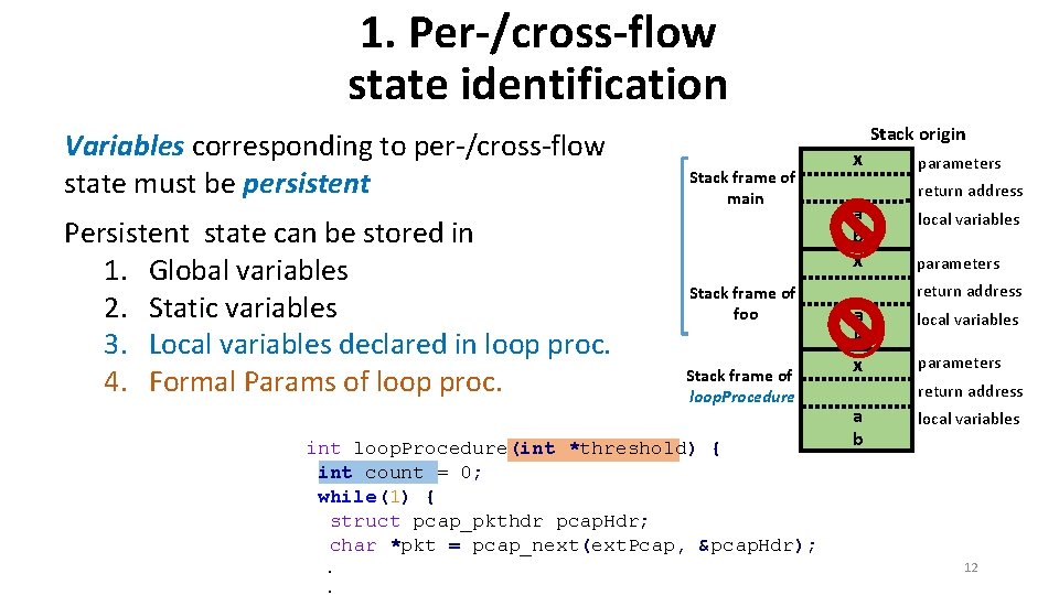1. Per-/cross-flow state identification Variables corresponding to per-/cross-flow state must be persistent Persistent state
