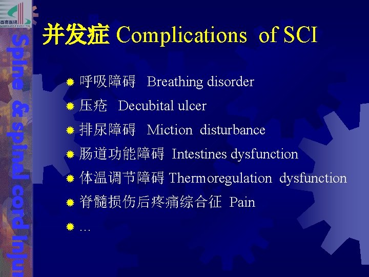 Spine & spinal cord injur 并发症 Complications of SCI ® 呼吸障碍 ® 压疮 Breathing
