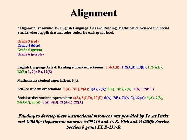 Alignment *Alignment is provided for English Language Arts and Reading, Mathematics, Science and Social