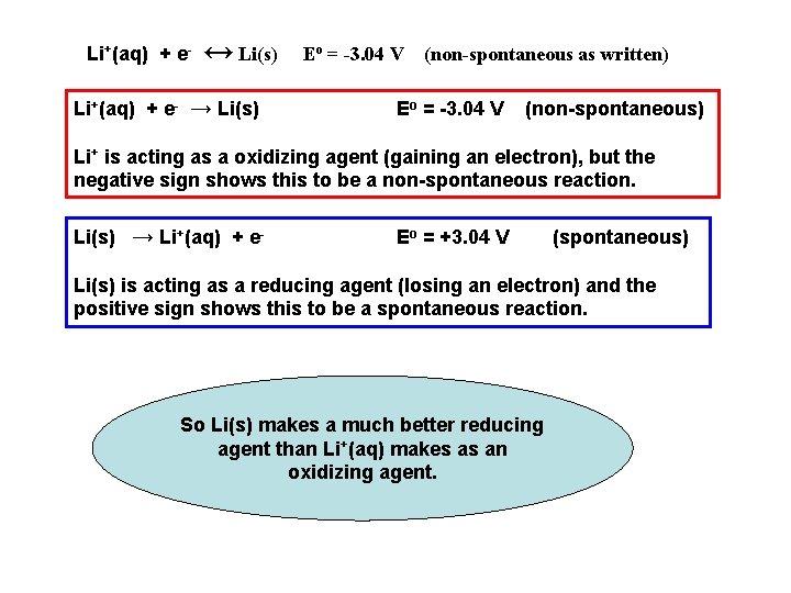 Li+(aq) + e- ↔ Li(s) Li+(aq) + e- → Li(s) Eo = -3. 04