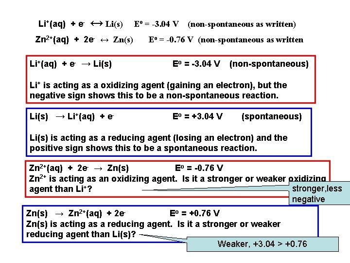 Li+(aq) + e- ↔ Li(s) Zn 2+(aq) + 2 e- ↔ Zn(s) Li+(aq) +