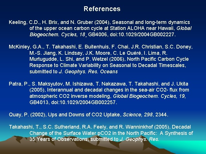 References Keeling, C. D. , H. Brix, and N. Gruber (2004), Seasonal and long