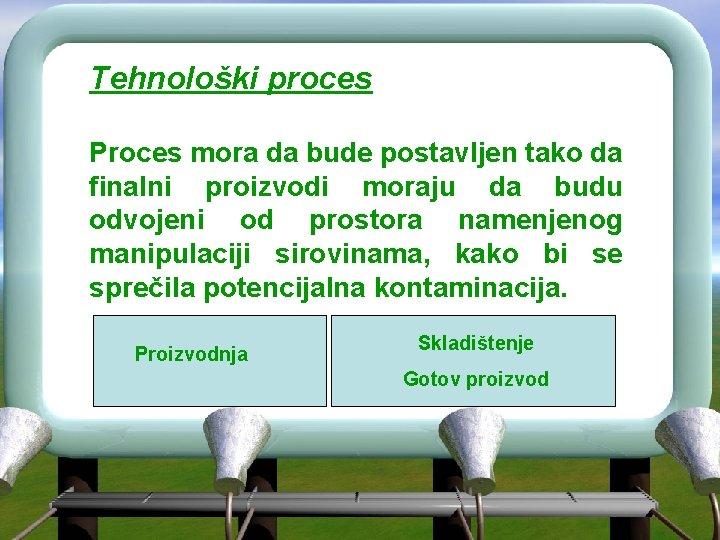 Tehnološki proces Proces mora da bude postavljen tako da finalni proizvodi moraju da budu
