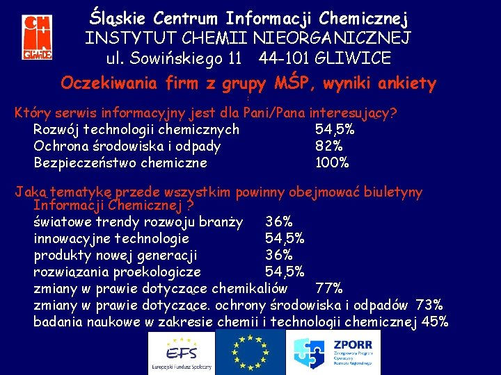 Śląskie Centrum Informacji Chemicznej INSTYTUT CHEMII NIEORGANICZNEJ ul. Sowińskiego 11 44 -101 GLIWICE Oczekiwania