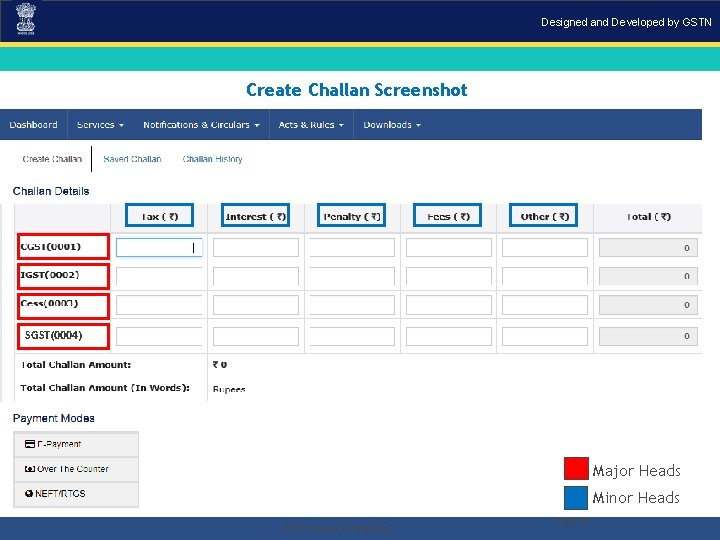 "Designed and Developed by GSTN Create Challan Screenshot SGST(0004) Major Heads Minor Heads. ""GSTN"