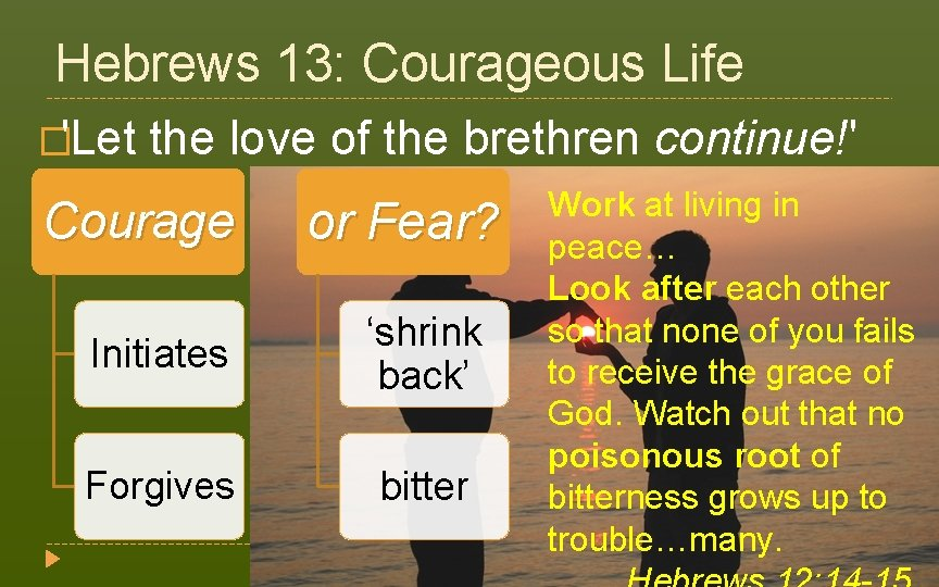 Hebrews 13: Courageous Life �'Let the love of the brethren continue!' (v. 1) Work