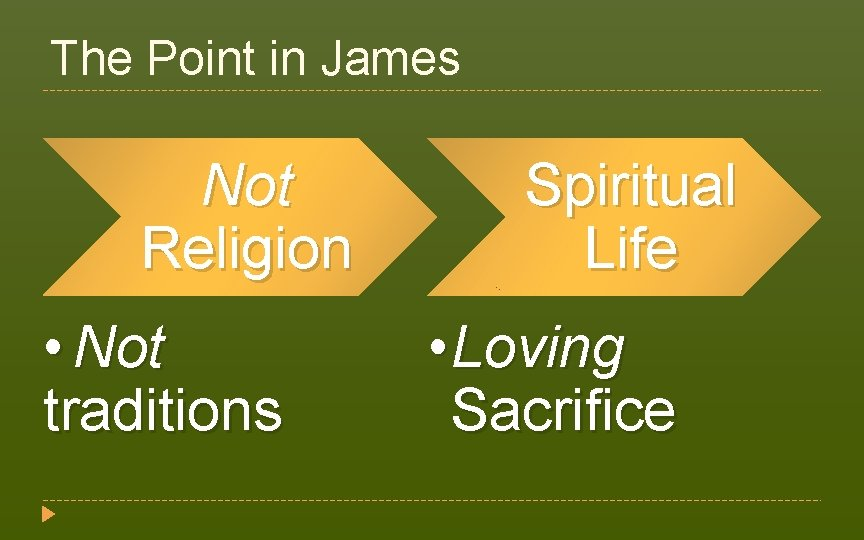 The Point in James Not Religion • Not traditions Spiritual Life • Loving Sacrifice