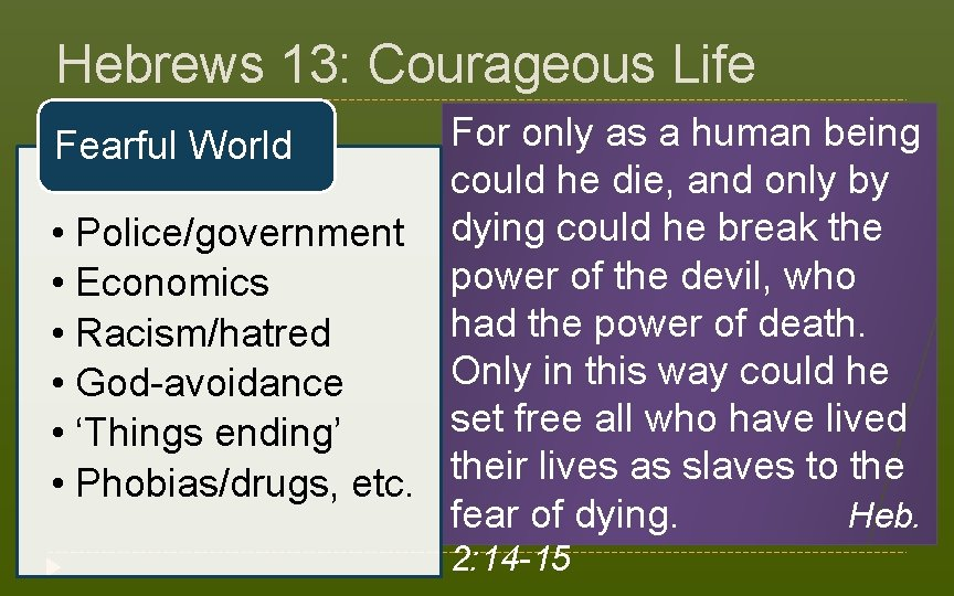 Hebrews 13: Courageous Life For only as a human being Fearful World could he