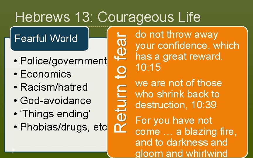 Fearful World • Police/government • Economics • Racism/hatred • God-avoidance • 'Things ending' •