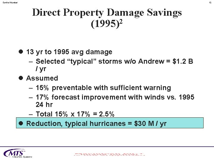 Control. Number 12 Direct Property Damage Savings (1995)2 l 13 yr to 1995 avg