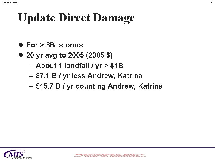 Control. Number 13 Update Direct Damage l For > $B storms l 20 yr