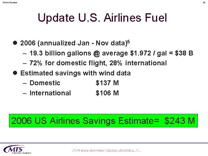 Control. Number 26 Update U. S. Airlines Fuel l 2006 (annualized Jan - Nov