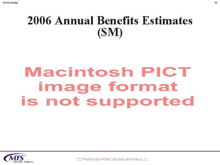 Control. Number 30 2006 Annual Benefits Estimates ($M)