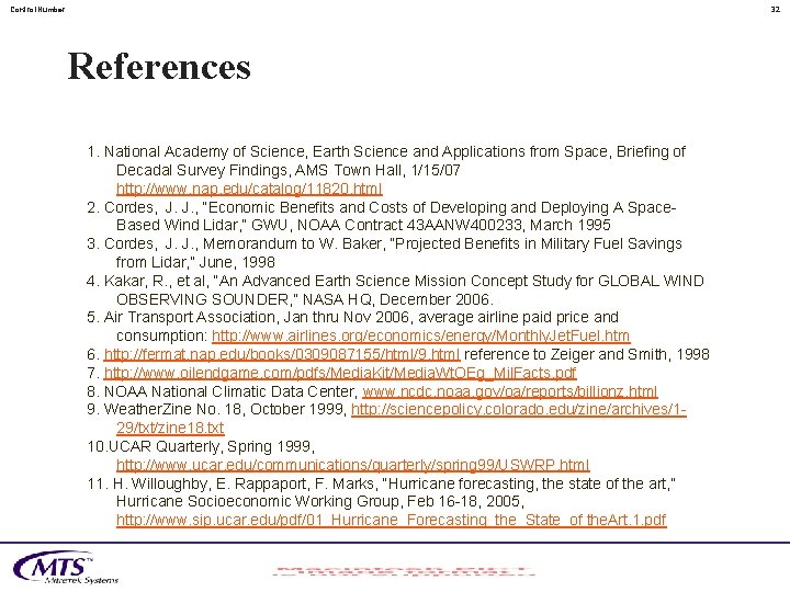 Control. Number 32 References 1. National Academy of Science, Earth Science and Applications from