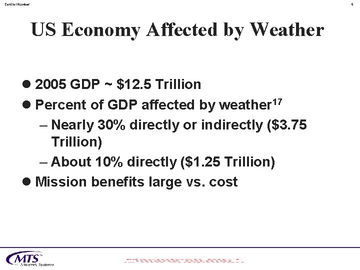 Control. Number 6 US Economy Affected by Weather l 2005 GDP ~ $12. 5